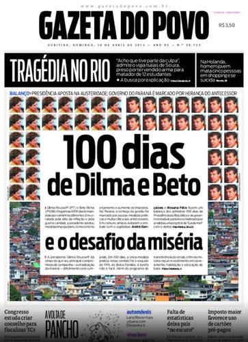 Capa da edição de 10 de abril do jornal Gazeta do Povo